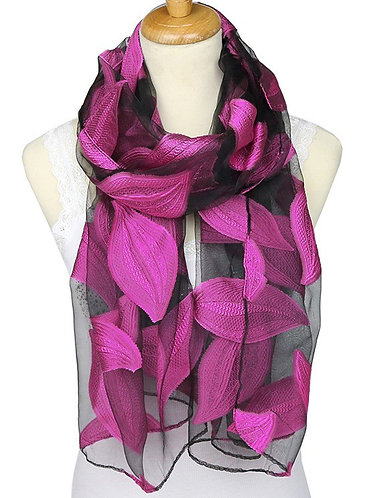 Jacquard Silk Scarf with Leaf Design - Soft Touch