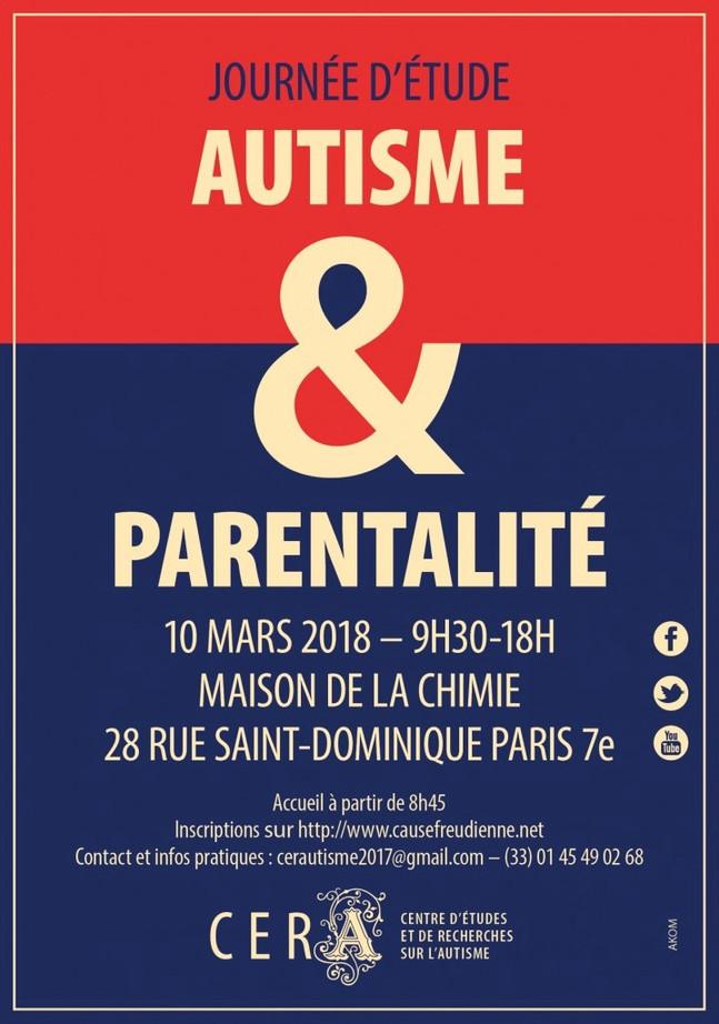 """Journée d'étude """"Autisme & Parentalité"""" Samedi 10 Mars 2018"""
