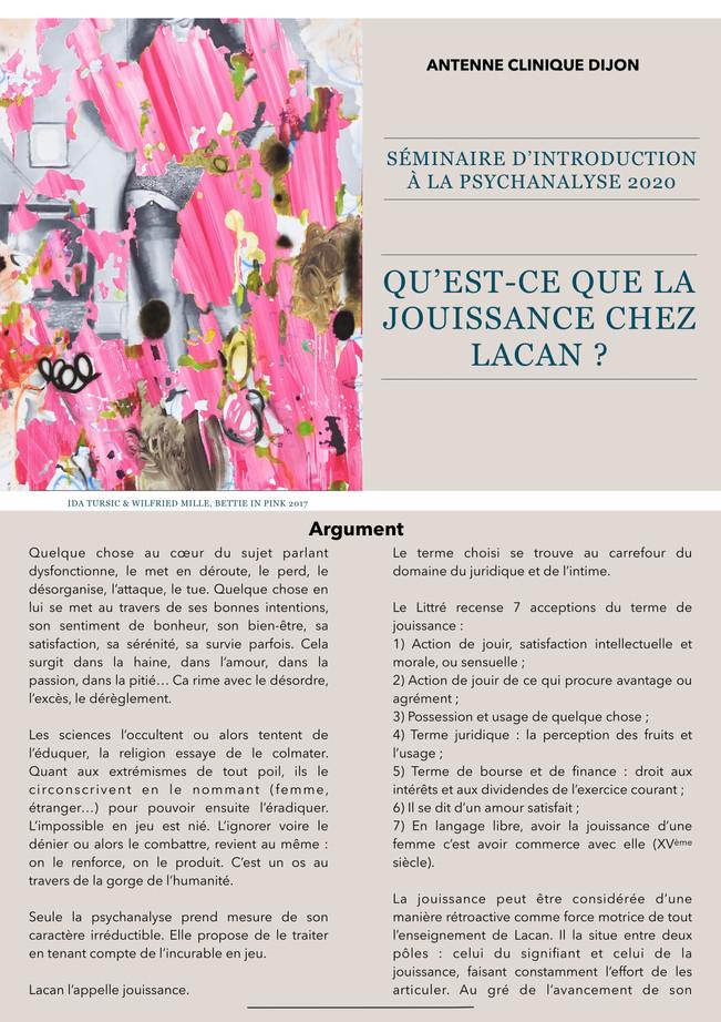 Antenne clinique de Dijon - Séminaire d'introduction à la psychanalyse - 2020
