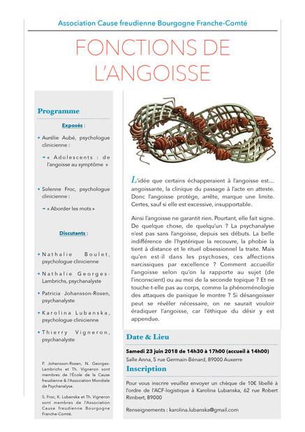 """Journée d'étude """"Fonctions de l'Angoisse"""" (annulation, avant report de date) Samedi 23 Juin 2018"""