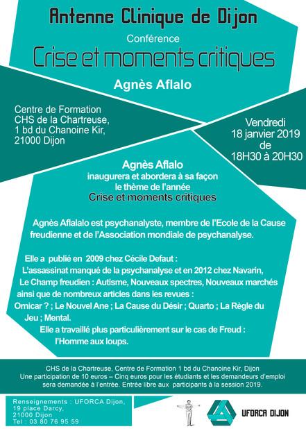 conférence Crises et moments critiques Agnès Aflalo 8 Janvier 2019