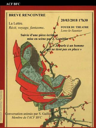 """""""La Lettre. Récit, voyage, fantasme"""" Mardi 20 Mars 2018"""