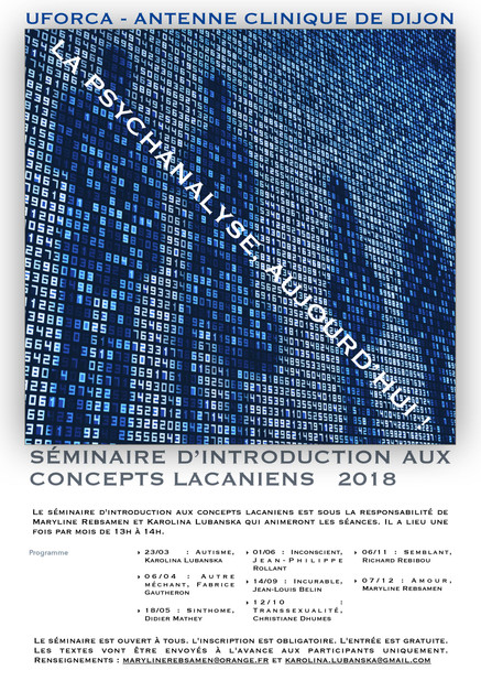 Séminaire d'introduction aux concepts lacaniens - 2018
