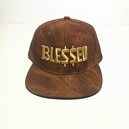 BW Blessed | Brown Suede Snapback GOLD