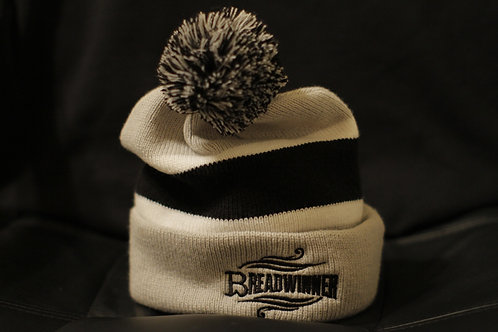 Breadwinner | Gray and Black Pom Pom Beanie