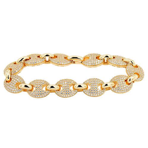 Sterling Silver 14t Gold Overlay Gucci Link Bracelet