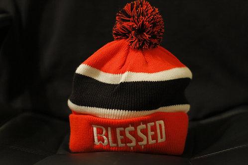 Breadwinner | Blessed | White , Black & Red Pom Pom Beanie