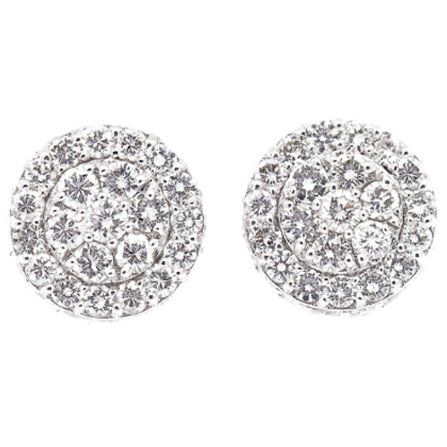 Flower Diamond Earrings (3D Diamonds) (OVER 2CT EACH)