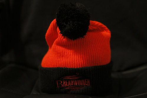 Breadwinner | Red & Black Pom Pom Beanie