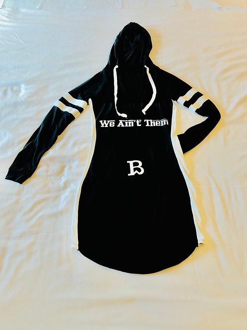 We Ain't Them Hoodie Dress BLK/WHT