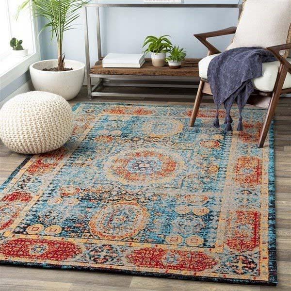 Distressed vintage area rug