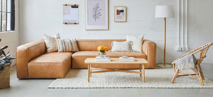 Loop area rug in a white room