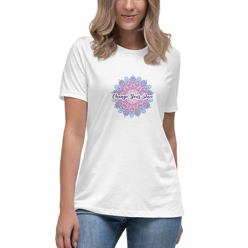 Change Your Pace Women's Relaxed White T-Shirt