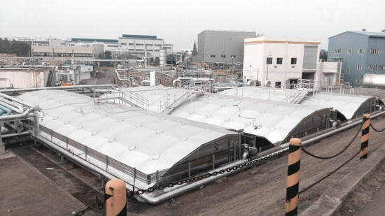 SK Incheon petrochemical wastewater treatment plant aluminum cover