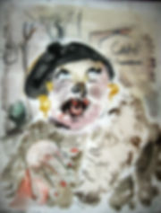 George Grosz Style Emulation, Watercolor woman