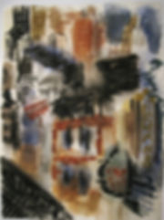 George Grosz City Chinatown Landscape Watercolor Painting reproduction study