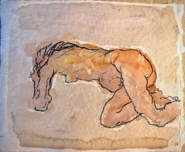 Oskar Kokoschka Reproduction watercolor nude woman old