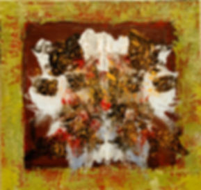 ABSTRACT ENCAUSTIC RED RORSCHACH PAINTING yellow black expressionist labarge