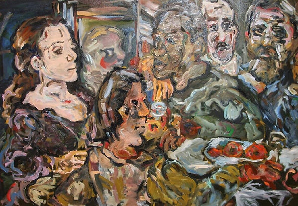 "Kokoschka Study ""The Friends"" Oil painting impasto"