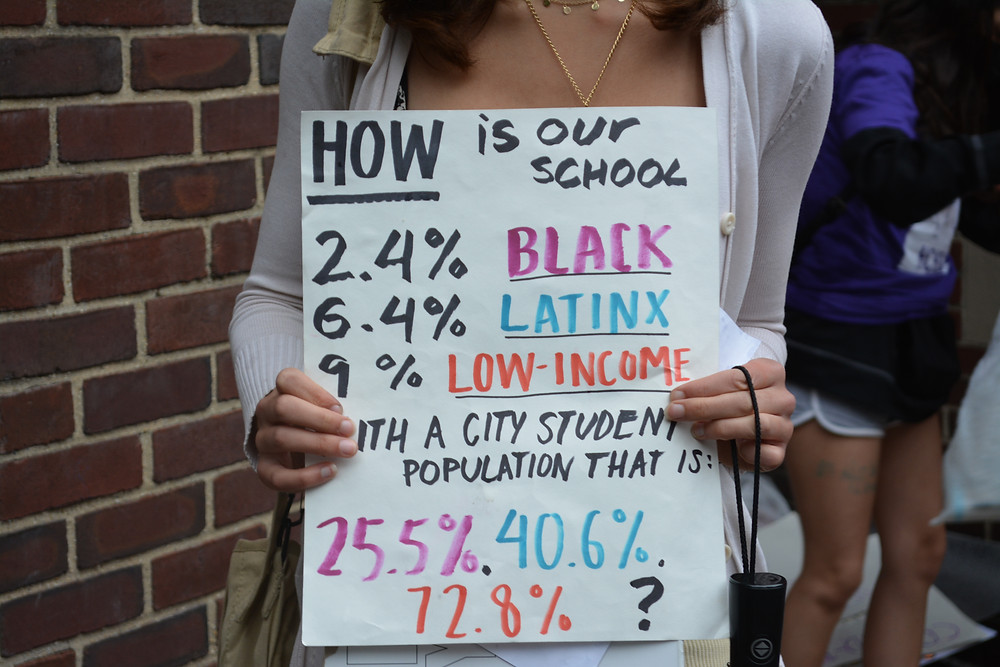 在Hunter College High School 门前的游行中,学生们手举标语,上面写道:为什么在一个非裔占25.5%,拉丁裔占40.6%,低收入家庭占72.8%的全市学生群体中,我们学校的学生在这几个方面分别只占2.4%,6.4% 和9%?图片由作者本人提供