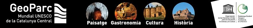 logo Geoparc de la Catalunya Centra, Geoparc Mundial UNESCO Catalunya Central, Coves de Montserrat, Coves del Salnitre, Coves de Collbato