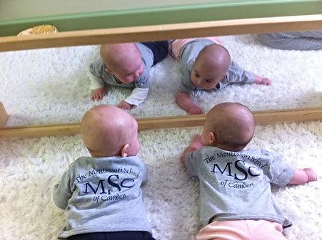 Montessori of Camden Infants at mirror