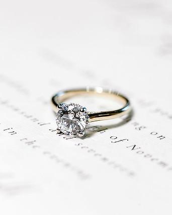 Yellow Gold Petite Solitaire Diamond Ring