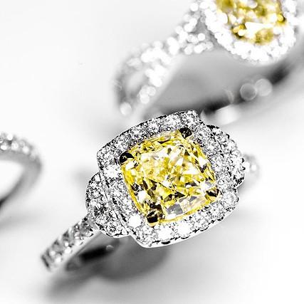 Cushion Cut Fancy Yellow Diamond Ring