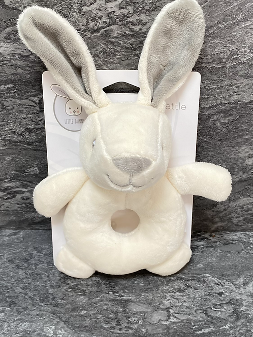 Newborn White Rabbit Rattle