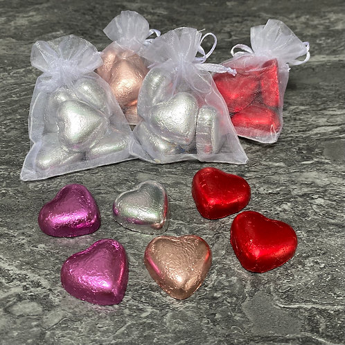 Chocolate Heart Organza Favours