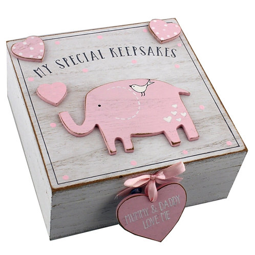 Pink Elephant Baby Keepsake Box