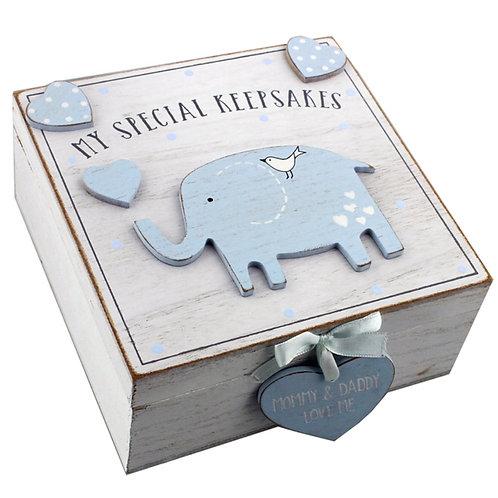 Blue Elephant Baby Keepsake Box