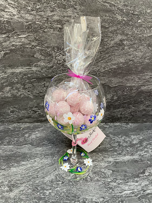 Daisies Hand Painted Glass and Truffles