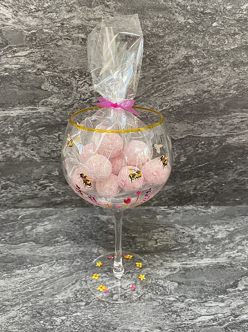 Bumblebee Hand Painted Glass and Truffles