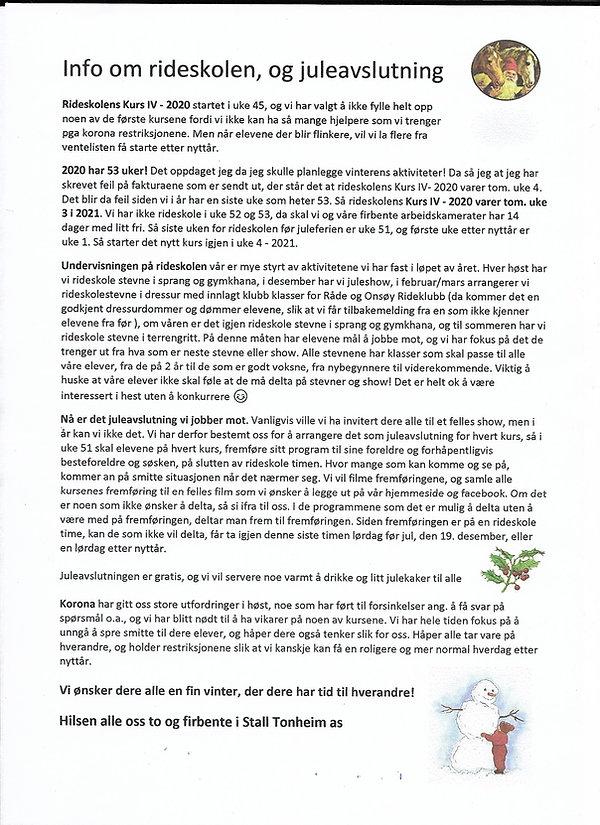 Info om rideskolen og juleavslutning 202