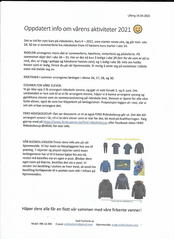 Oppdatert info om vårens aktiviteter 202
