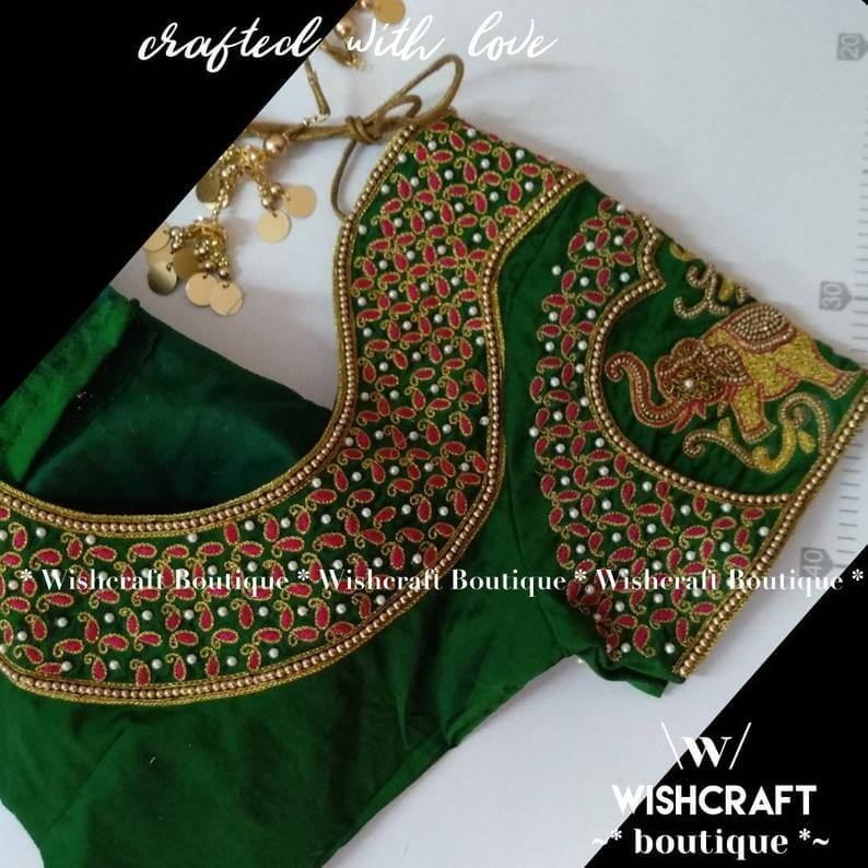 green-blouse-with-maggam-work-saree-blou