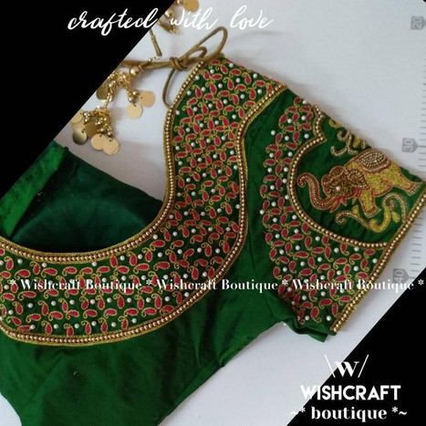 309 heavy maggam work blouse in green ba