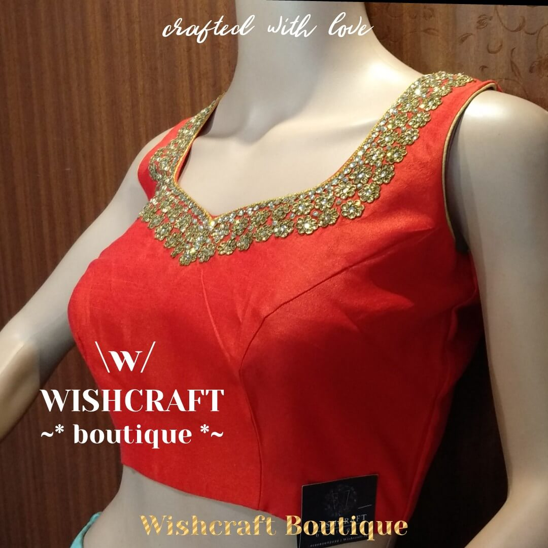Red saree blouse with kundan work - blou