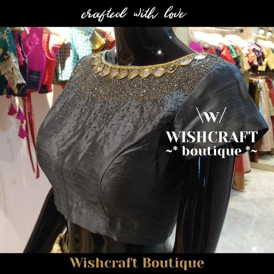184 designer mirror work blouse- wishcra