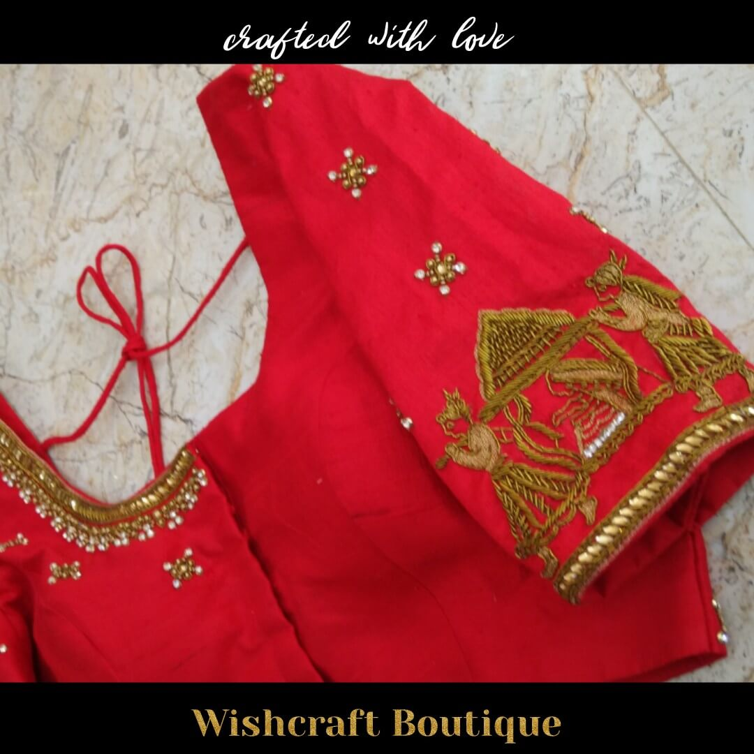 Red bridal blouse - palki work - blouse