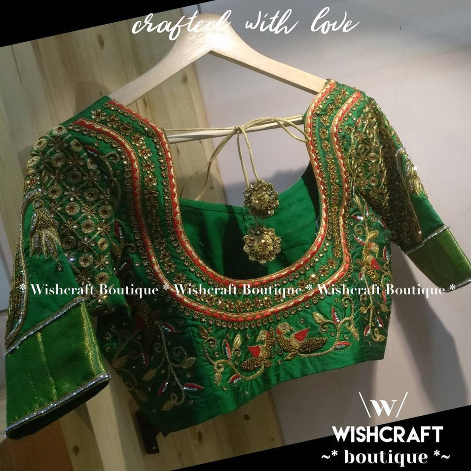 305 bridal blouse with heavy work in gre