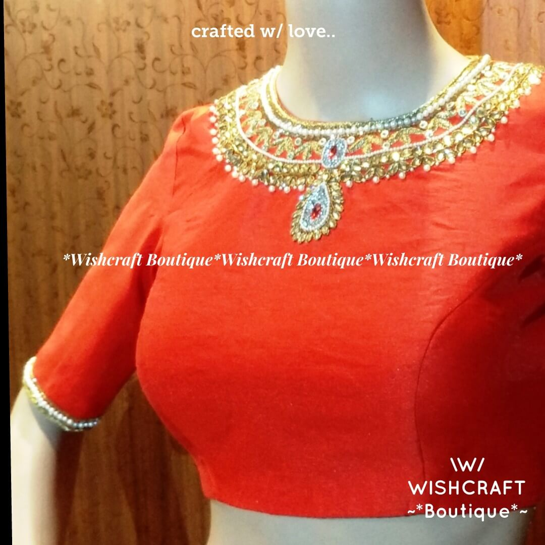 Red Saree Blouse - necklace design -118