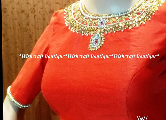 Necklace Style Saree Bloue with handwork - Blouse Design #118