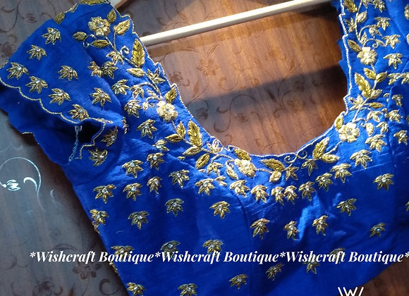 Designer Partywear Saree Blouse in Royal Blue #341