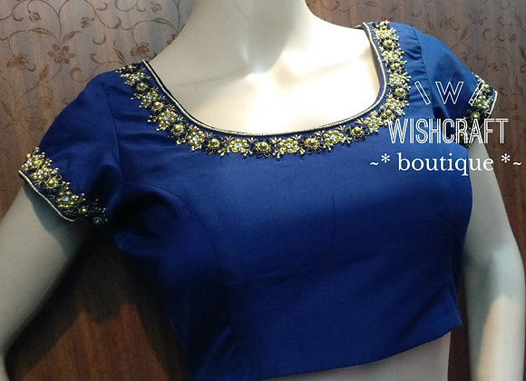 Blue Designer Blouse with Beads handwork. Saree Blouse Design 193