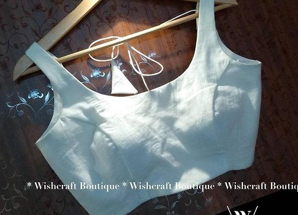 Simple Cotton Sleeveless Saree Blouse. Indian Blouse 307
