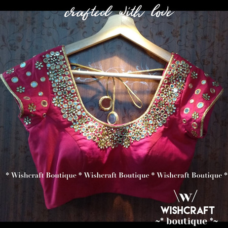 232 trendy mirror and kundan work blouse