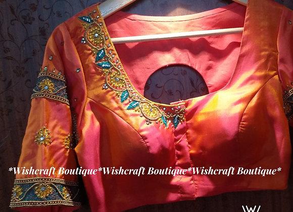 Trendy multicolor work on cotton silk - saree blouse design #333
