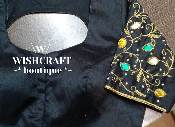 Black Designer Blouse with handwork. Indian Blouse Design 201